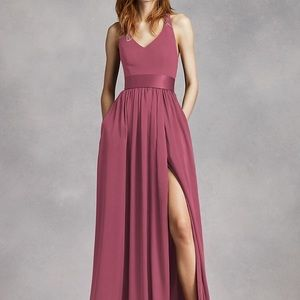 Vera wang v neck halter bridesmaid dress